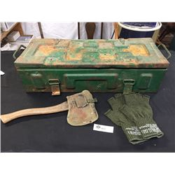WWII US 1942 Ammo Box Plus US 1944 Axe. Fingerless Gloves and a Tray of Some Sort. Etc.