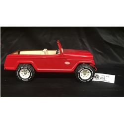 Vintage Tonka Jeep. Jeepster Red Pressed Metal Truck 1970's