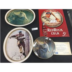 Babe Ruth Red Rock Cola Sign Plus 3 Norman Rockwell Pieces. ( 2 Trays and a Plate)