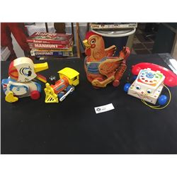 Vintage Fisher Price Lot. Walking Duck, Rooster, Train, Telephone