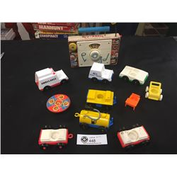 Vintage Fisher Price Little People Lot. Tv, Radio, Supper Table, Vehicles