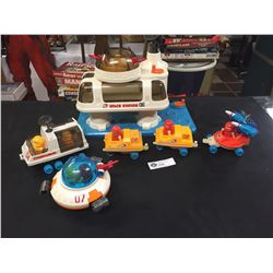 Vintage 1984 Fisher Price Space Station Plus Other Vehicles, Missle Launcher