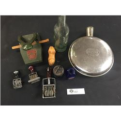 Vintage Collectible Shelf Lot Hot Water Bottle, Date Stamps, Hole Punch Blue Bottles