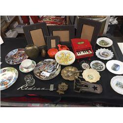 Big Vintage Shelf Lot of Collector Plates, Brass,Dishes Photo Frames