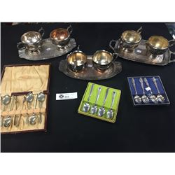 3 Vintage Cream and Sugar Sets Plus 3 Vintage Spoon Sets. All Silver Plated