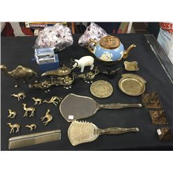 A Very Nice Vintage Shelf lot of Brass Camels, Genie Lamp, Comb, Brush Mirror Teapot etc