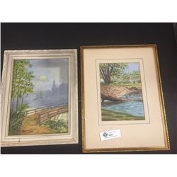 """2 Signed Original Paintings 1 by Alice Pough 12x 14 and 1 by C.A. Rooney """" Winter Scene"""" 12 x 14"""