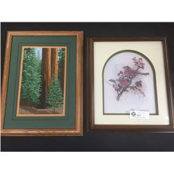2 Framed Pieces of Art. Paper Tole Birds in a Tree 13 x 15 and Needle Point Trees  13 x 17