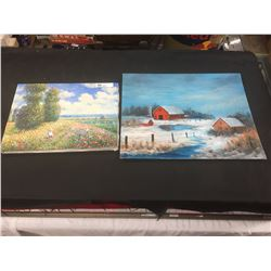 """2 Paintings Only 1 is Signed. T. Loie """" Field of Flowers"""" 16 x12 and Farm in the Snow """" 20 x 16"""