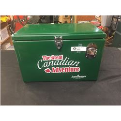 """The Great Canadian Adventure Metal Cooler with Bottle Opener on Front Unused. 20"""" x 10"""" x12"""""""