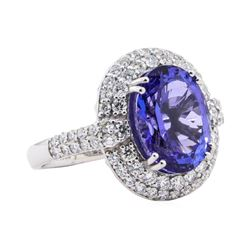 7.05 ctw Tanzanite and Diamond Ring - Platinum