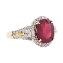 4.65 ctw Ruby and Diamond Ring - 14KT Yellow Gold