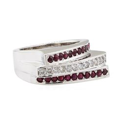 1.07 ctw Diamond and Ruby Ring - 14KT White Gold