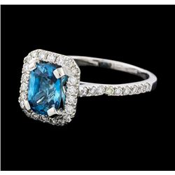 1.96 ctw Blue Zircon and Diamond Ring -  Platinum