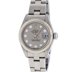 Rolex Ladies Stainless Steel Slate Grey Jubilee Diamond Quickset Datejust Wristw