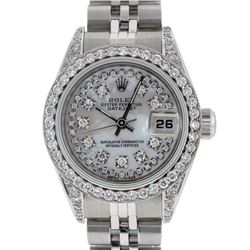 Rolex Ladies Stainless Steel Quickset Mother Of Pearl Diamond Lugs Jubilee Datej