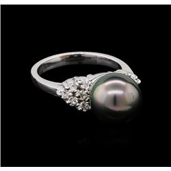 0.33 ctw Pearl and Diamond Ring - 14KT White Gold
