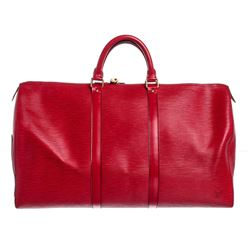 Louis Vuitton Red Epi Leather Keepall 50 cm Duffle Bag Luggage