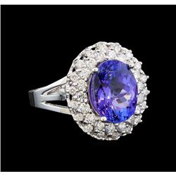 14KT White Gold 6.40 ctw Tanzanite and Diamond Ring