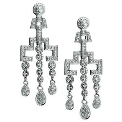 14k White Gold 0.98CTW Diamond Earrings, (I2 /H-I)