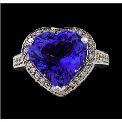 GIA Cert 7.72 ctw Tanzanite and Diamond Ring - 14KT White Gold