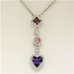 14K White Gold Heart Amethyst Tourmaline Pink Sapphire Diamond Dangle Pendant