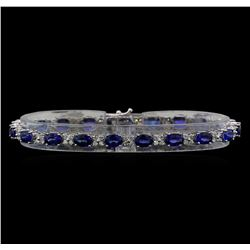14KT White Gold 11.80 ctw Sapphire and Diamond Bracelet