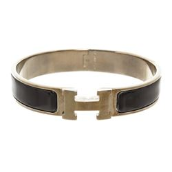 Hermes Black Enamel Palladium Plated Narrow Clic Clac H Bracelet GM