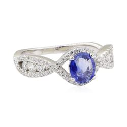 1.30 ctw Sapphire and Diamond Ring - 14KT White Gold