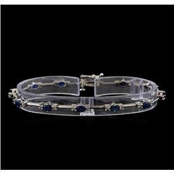 3.50 ctw Sapphire and Diamond Bracelet - 14KT White Gold