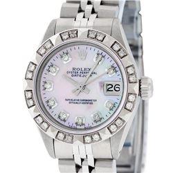Rolex Ladies Stainless Steel Pink MOP Pyramid Diamond Datejust Wristwatch