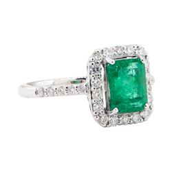 1.90 ctw Emerald and Diamond Ring - Platinum