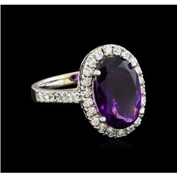 3.58 ctw Amethyst and Diamond Ring - 14KT White Gold