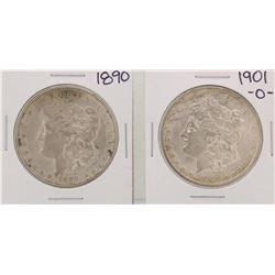 1890 & 1901 $1 Morgan Silver Dollar Coins