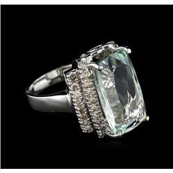 14KT White Gold 7.61 ctw Aquamarine and Diamond Ring