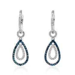 14k White Gold 0.61CTW Diamond and Blue Diamonds Earrings, (SI1-SI2/Gold)