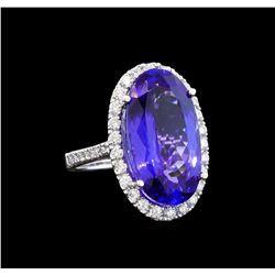 GIA Cert 14.53 ctw Tanzanite and Diamond Ring - 14KT White Gold