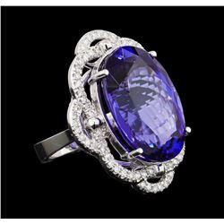 GIA Cert 25.82 ctw Tanzanite and Diamond Ring - 14KT White Gold
