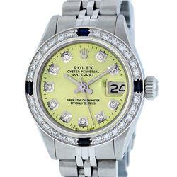 Rolex Ladies Stainless Steel Yellow Diamond & Sapphire Datejust Wristwatch
