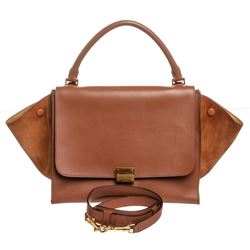 Celine Brown Leather Suede Medium Trapeze Bag