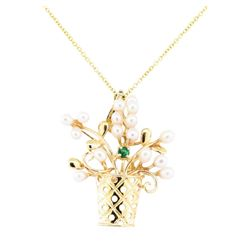 0.10 ctw Emerald and Freshwater Pearl Floral Pendant with Chain - 14KT Yellow Go