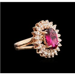 1.99 ctw Ruby and Diamond Ring - 14KT Rose Gold