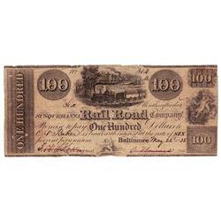 1838 $100 Susqueillvvna Railroad, Co., Baltimore, MD - Obsolete Bank Note