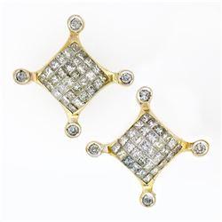 Large 14K Yellow Gold 1.32 ctw Princess Round Diamond Cluster Screw Back Earring