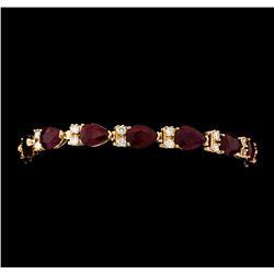 21.64 ctw Ruby and Diamond Bracelet - 14KT Rose Gold
