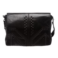 MCM M. Moment Black Leather Messenger Bag