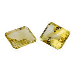 20.69 ctw.Natural Emerald Cut Citrine Quartz Parcel of Two
