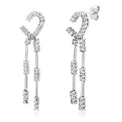 14k White Gold 1.00CTW Diamond Earrings, (I1-I2/H-I)