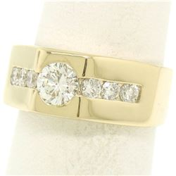 Men's 18K Yellow Gold 1.01 ctw Round Brilliant Cut Solitaire Diamond Band Ring