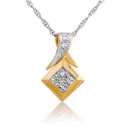 14k Yellow Gold 0.05CTW Diamond Pendant, (SI1-SI2/G-H)